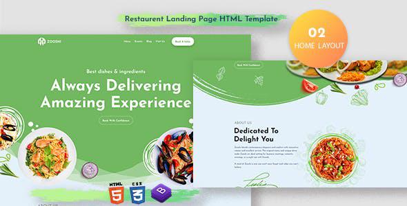 精美的餐厅HTML5单页滚动模板源码下载