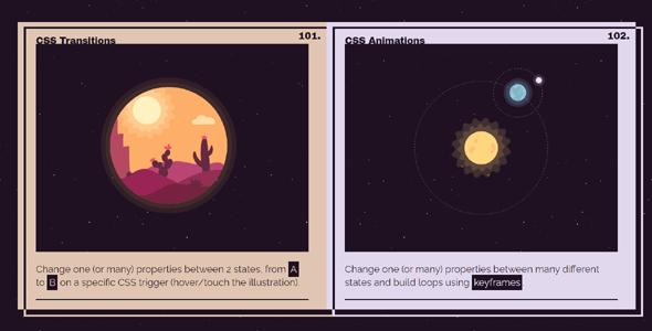 svg+css3昼夜交替和行星轨迹动画代码