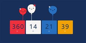 js新年倒计时方块和气球代码
