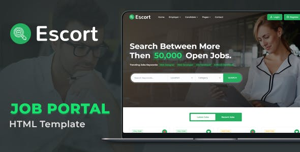 绿色招聘工作门户网站HTML模板源码下载