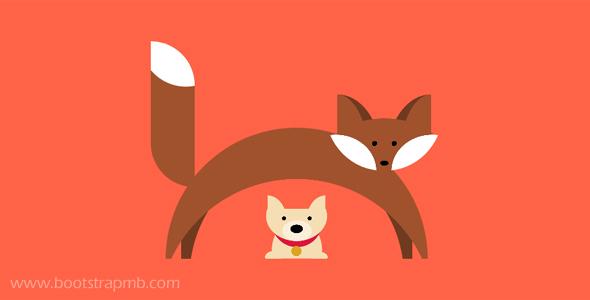css画的狐狸和狗网页代码