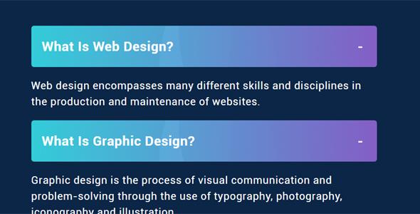HTML & CSS FAQ问答手风琴样式源码下载