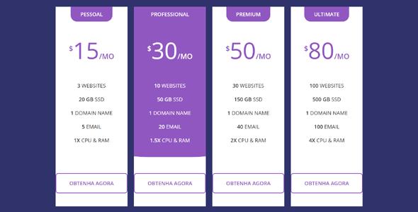 纯CSS价格表vip分组对比