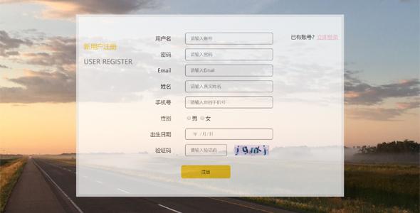 html透明样式注册表单界面