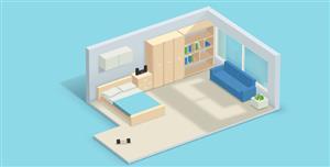 純CSS3實現的3D臥室家具