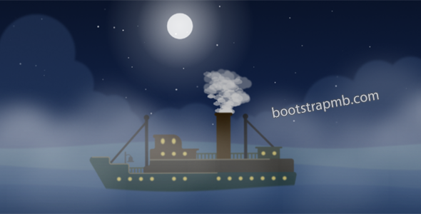 HTML5夜晚海上轮船动画特效代码源码下载
