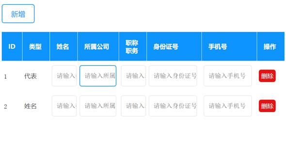 可编辑的表格table