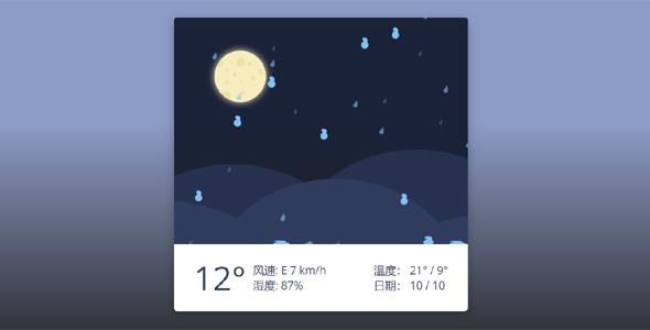 天气情况温湿度css卡片样式源码下载