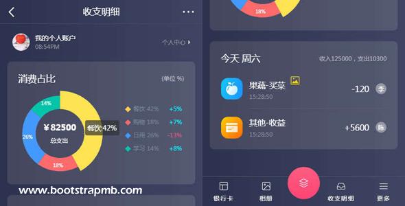 vue+echarts收支明细手机页面