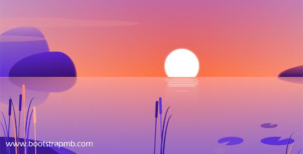 CSS3动画湖面日出网页特效
