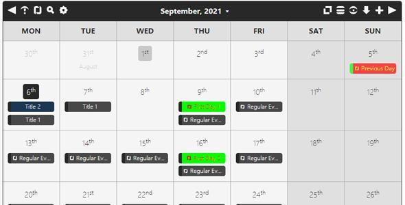 计划任务日历界面JavaScript组件