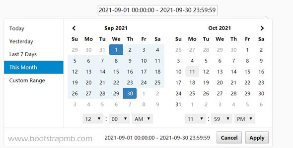 input日期时间范围选择器
