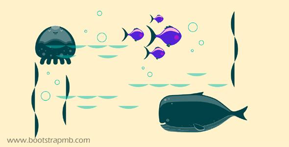 海底鱼儿游动GSAP.js动画特效源码下载